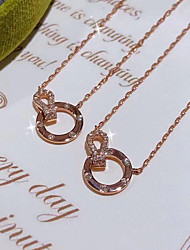 cheap -Women's Clear AAA Cubic Zirconia Pendant Necklace Monogram Letter Simple Elegant Fashion Holiday Brass Rose Gold 50 cm Necklace Jewelry 1pc For Wedding Party Evening Prom Birthday Party