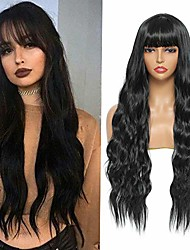 cheap -sylhair long curly wavy wig with bangs 30 inch synthetic black wavy wigs for women natural looking full heat resistant fiber wigs for daily use (1b)