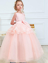 cheap -Kids Little Girls' Dress Solid Color Bow Prom Wedding Party Embroidered Layered Ruffle Blushing Pink Fuchsia Green Maxi Sleeveless Ball Gown Princess Dresses Fall Spring 4-13 Years / Summer