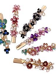 cheap -6 PCS / Set Colorful Vintage Flower Design Metal Alligator Hair Clips Accessories Women Girls