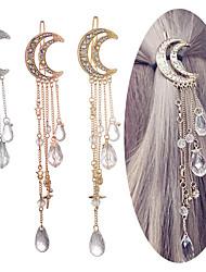 cheap -3 Pcs/set Fashion Elegant Women Hair Bands Lady Moon Rhinestone Crystal Tassel Long Chain Beads Dangle Hairpin Hair Clip Hair Jewelry