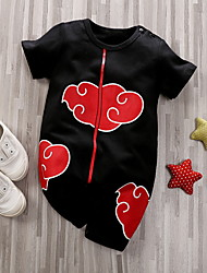 cheap -Baby Boys' Halloween Jumpsuits & Rompers Basic Halloween Cotton Black Anime Cloud Print Print Short Sleeves / Spring