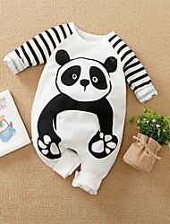 cheap -Baby Boys' Romper Basic Cotton White Panda Striped Animal Print Long Sleeve / Fall