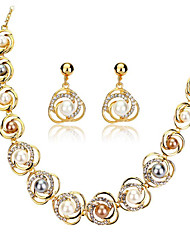 cheap -Women's Pearl Jewelry Set Geometrical Stylish 18K Gold Filled Earrings Jewelry Gold For Anniversary Party Evening Festival 1 set