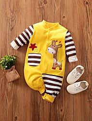 cheap -Baby Boys' Basic Deer Striped Animal Print Long Sleeve Romper Yellow Navy Blue