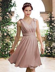 cheap -A-Line V Neck Knee Length Chiffon Bridesmaid Dress with Bow(s) / Pleats