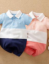 cheap -Baby Boys' Romper Basic Cotton Blue Blushing Pink Navy Blue Color Block Print Short Sleeves / Summer