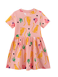 cheap -Kid's Little Little Girl Dress Cat Print Blushing Pink Cotton Dresses 1-6 Years