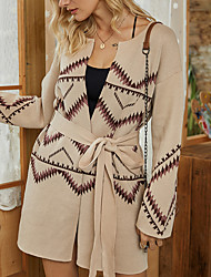 cheap -Women's Sweater Coat Daily Fall & Winter Long Coat Regular Fit Basic Jacket Long Sleeve Geometric Print Beige / Cotton