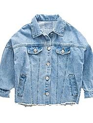 cheap -Kids Boys' Jacket & Coat Long Sleeve Denim Blue Letter Denim School Daily Wear Casual Daily 3-12 Years
