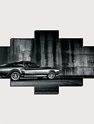 cheap -5 Panels Wall Art Canvas Prints Painting Artwork Picture Modern Black Car Home Decoration Décor Rolled Canvas No Frame Unframed Unstretched