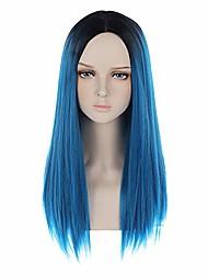 preiswerte -ombre blaue perücke lange gerade perücke dunkelblau perücke für frauen schwarz ombre blaue perücke mittelteil blaue perücke hitzebeständige synthetische perücke cosplay kostüm tägliche perücke