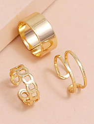 cheap -3pcs Ring Set Geometrical Gold Alloy Elegant Fashion Classic 1 set One Size