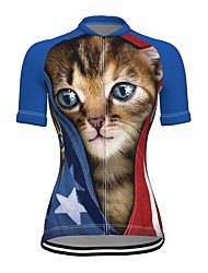 cheap -21Grams Women's Short Sleeve Cycling Jersey Summer Spandex Blue Cat 3D American / USA Bike Top Mountain Bike MTB Road Bike Cycling Quick Dry Moisture Wicking Sports Clothing Apparel / Stretchy