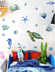cheap -Watercolor Turtle Wall Stickers Self-adhesive Sea World Creature Stickers Children's Room Decoration Shell Wall Stickers