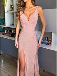 cheap -Sheath / Column Elegant Formal Evening Dress Spaghetti Strap Sleeveless Floor Length Polyester with Pleats Split Front 2021