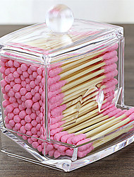 cheap -Acrylic Cotton Swabs Storage Holder Box Portable Transparent Makeup Cotton Pad Cosmetic Container Jewelry Organizer Case