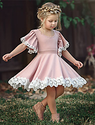 cheap -Kid's Little Girls' Dress Causal Floral Lace Solid Color Party School Purple Blushing Pink Green Short Sleeve Cute Sweet Dresses Summer 2-12 Years