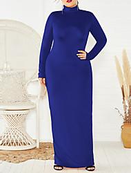 cheap -Women's Plus Size Dress Sheath Dress Maxi long Dress Long Sleeve Plain Turtleneck Muslim Fall Wine Gray Green XXL 3XL 4XL 5XL