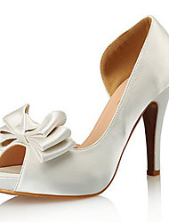 cheap -Women's Heels Pumps Open Toe Wedding Daily Satin Bowknot Solid Colored Red White Black