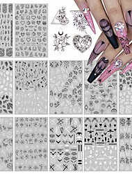 cheap -12 Pcs/set Black And White Nail Art Stickers Leaf Retro Flower Vine Pattern Applique French Classic Simple Self-adhesive Paper Suitable For Girls And Women Nail Art DIY Decoration