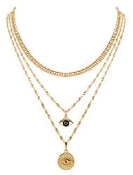 cheap -retro alloy devil's eye pendant multi-layer necklace female fashion street necklace