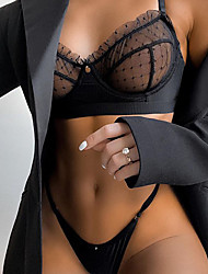 cheap -Women's Matching Bralettes Sexy Bodies Sets Bed Dot Lace Spring, Fall, Winter, Summer Hook & Eye / 1 set / Sexy Lingerie Set / Lace Bras / Polyester