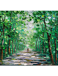 cheap -Oil Painting Handmade Hand Painted Wall Art Green Scenery Abstract Pictures Home Decoration Decor Stretched Frame Ready to Hang