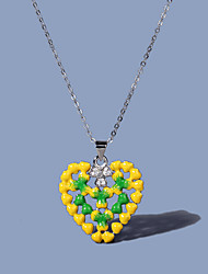 cheap -Women's Clear AAA Cubic Zirconia Pendant Necklace Fancy Floral / Botanicals Heart Artistic Natural Elegant Rustic Brass Silver 50 cm Necklace Jewelry 1pc For Christmas Anniversary Street Prom Beach