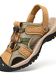 cheap -Men's Sandals Crochet Leather Shoes Flat Sandals Sporty Casual Roman Shoes Daily Outdoor Nappa Leather Cowhide Breathable Handmade Non-slipping Booties / Ankle Boots Yellow Khaki Black Fall Summer