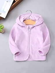 cheap -Kid's Girls' Jacket & Coat Long Sleeve Pink five-pointed star Beard gray Velvet gray Stripes Solid Color Cloud Cute 1-6 Years