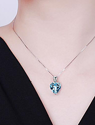 cheap -Women's Pendant Necklace Charm Necklace Classic Heart Precious Fashion Copper Silver Plated Glass Blue 45 cm Necklace Jewelry 1pc For Christmas Party Evening Street Gift Birthday Party