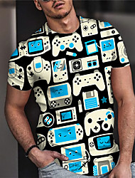 cheap -Men's Unisex Tee T shirt Shirt 3D Print Graphic Prints Game Game Console Print Short Sleeve Daily Tops Casual Designer Big and Tall Blue / Summer