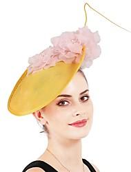 cheap -Fashion Linen / Cotton Blend / Fabrics Headpiece with Floral 1 / box Wedding Headpiece