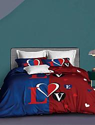 cheap -Couple Wedding Duvet Cover Sets EsyDream Love Heart Wedding Bedding King Queen 3PC Ultra Soft Microfiber Couple Love Heart Duvet Cover 1pc with 2pc Pillowcase