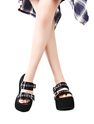 cheap -Women's Gothic Lolita Punk Lolita Gothic Creepers Shoes Solid Color 10 cm Black PU Leather Halloween Costumes