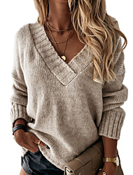 cheap -Women's Sweater Solid Color Casual Long Sleeve Loose Sweater Cardigans V Neck Fall Winter Blue Blushing Pink Gray / Holiday