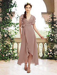 cheap -A-Line V Neck Asymmetrical / Ankle Length Chiffon Bridesmaid Dress with Sash / Ribbon / Ruffles