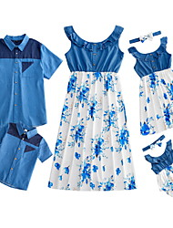 cheap -Family Sets Family Look Cotton Floral Print Picture Nature Sleeveless Daily Matching Outfits / Summer