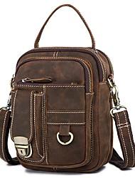 cheap -Men's Bags Nappa Leather Cowhide Crossbody Bag Zipper Daily Messenger Bag Brown Coffee