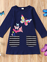 cheap -Toddler Little Girls' Dress Animal Blue White Dresses