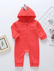 cheap -Baby Unisex Romper Basic Cotton Blushing Pink Gray Red Dinosaur Solid Colored Long Sleeve / Fall / Spring