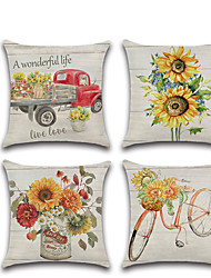 cheap -Farm Sunflower Double Side Cushion Cover 1PC Soft Decorative Square Throw Pillow Cover Cushion Case Pillowcase for Bedroom Livingroom Superior Quality Machine Washable Outdoor Cushion for Sofa Couch Bed Chair
