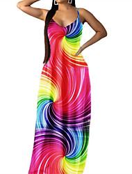 cheap -Women's Strap Dress Maxi long Dress Stripe Five-pointed star Whirlpool Sleeveless Multi Color Stripes Stars Print Spring Summer Deep V Casual Sexy 2021 S M L XL XXL