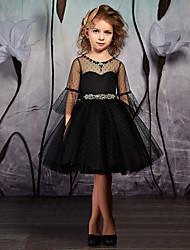 cheap -A-Line Knee Length Flower Girl Dresses Wedding Satin Long Sleeve Jewel Neck with Sash / Ribbon