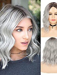 cheap -short grey bob wavy wigs for women ombre gray synthetic wigs brown roots heat resistant wigs for daily cosplay party use with wig cap
