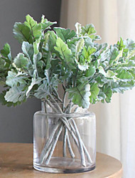 cheap -33cm Simulation Plant Flocking Leaf Simulation Silver Forsythia Leaf Flower Arrangement Materials