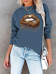 cheap -Women's Sweatshirt Pullover Leopard Lip Print Print Daily Sports Hot Stamping Cotton Sportswear Streetwear Hoodies Sweatshirts  Blue Wine Fuchsia