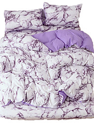 cheap -Duvet Cover QueenPurple  Duvet Cover Set with Soft and Warm 100% Washed Microfiber Also as Marble Comforter Cover or Quilt Cover 3 Piece Bedding Set with Zipper