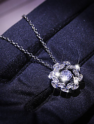 cheap -Women's Clear AAA Cubic Zirconia Pendant Necklace Monogram Floral / Botanicals Dainty Korean Sweet Brass Silver 50 cm Necklace Jewelry 1pc For Party Evening Gift Birthday Party Beach
